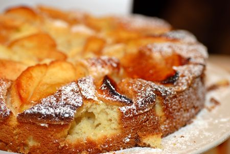 Close up of an apple tart at a bakery