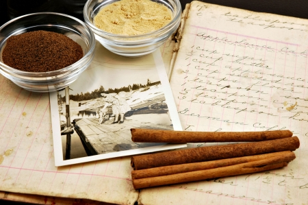 cookbook: Collage of a vintage handwritten cookbook with cinnamon sticks, ginger, nutmeg, and an old photograph of a woman