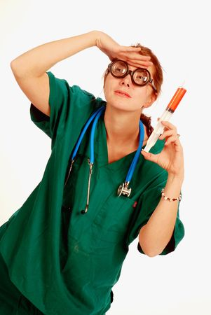 Crazy nurse search for a medical cure photo