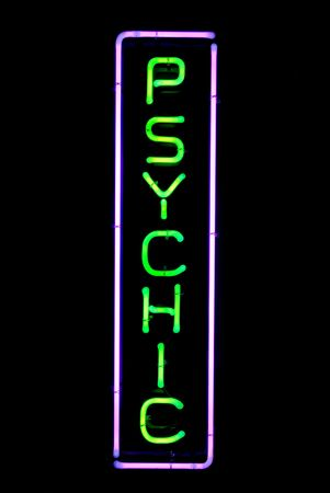 Green and purple psychic neon sign Stock Photo - 3339641