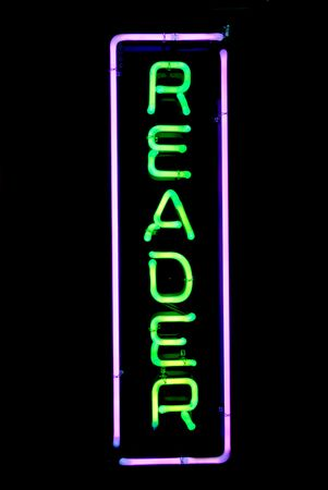 psychic reading: Green and purple reader neon sign