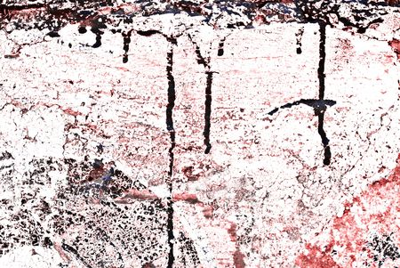 paint chipping: Deteriorating painted brick wall stylized with grunge effects (part of a photo illustration series)