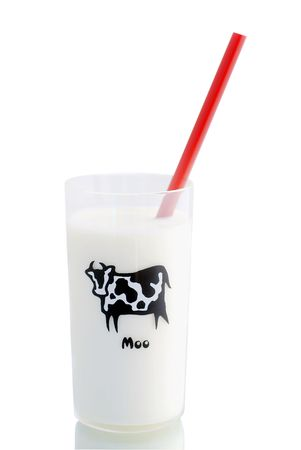 nonfat: Small glass of milk with a red straw