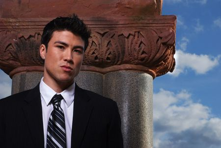 Young biracial businessman standing before a column Stock Photo - 3854054