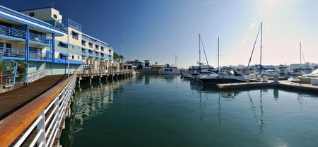 Panorama of the marina at Jack London Square, Oakland, Califorina Stok Fotoğraf