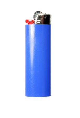 butane: Blue cigarette lighter isolated on a white background Stock Photo
