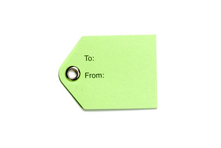 Blank green tag isolated on a white background photo