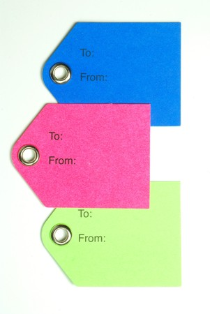 Three colored gift tags isolated on a white background Stock Photo - 3953164