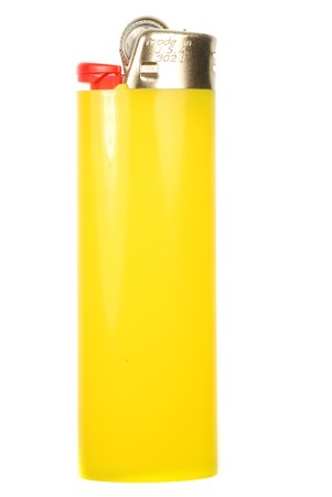 butane: Yellow cigarette lighter isolated on a white background