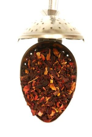 Hibiscus Tea in a stainless steel teaspoon strainer Stock Photo - 3953142