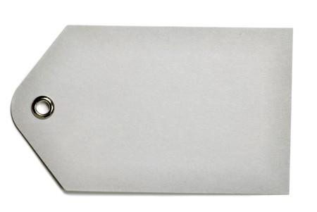 白い背景上に分離されて空白灰色ギフト タグ
