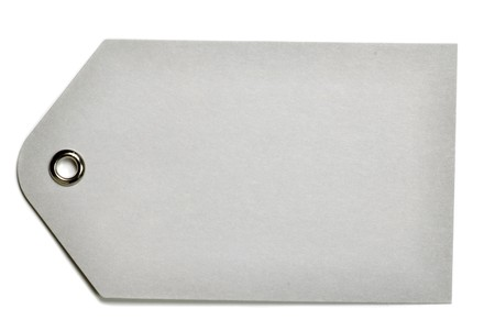 Blank gray gift tag isolated on a white background