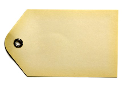 白い背景上に分離されて空白ベージュ ギフト タグ 写真素材