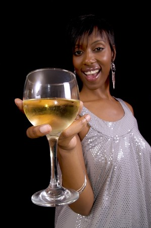 Young African American woman makes a toast with wine photo