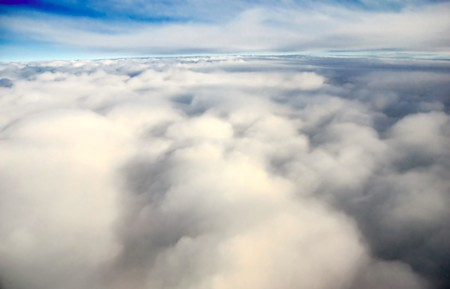 Scenic viewpoint from above and below clouds in the sky photo