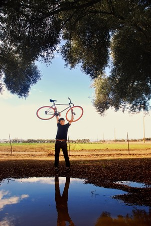 Portrait of a fixed gear cycling enthusiast in California farm country