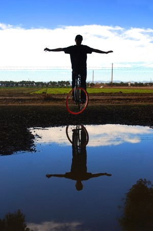 enthusiast: Portrait of a fixed gear cycling enthusiast in California farm country