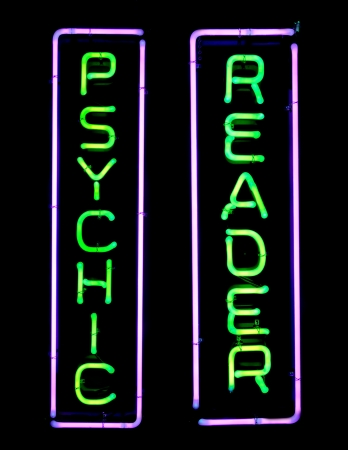 psychic: Green and purple psychic neon sign Stock Photo