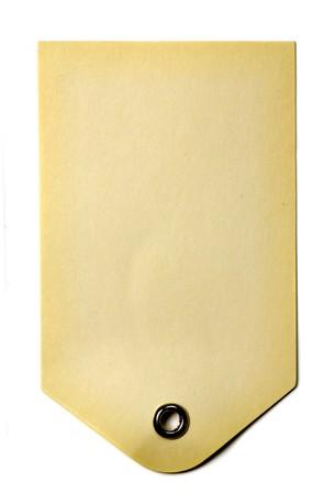 白い背景に分離された空白ベージュ ギフト タグ