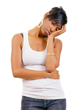 Depressed young African American woman isolated on white Stock Photo