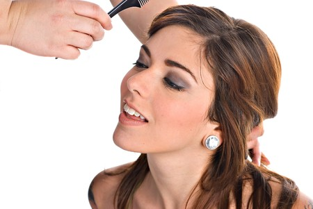 Portrait of a young woman getting her hair done Stock Photo - 4486591
