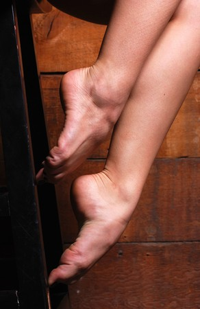 female feet: Close up of a ballerinas bare feet Stock Photo