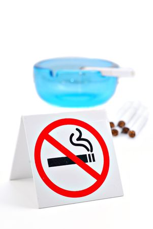 No Smoking sign with cigarettes and ashtray isolated on white background