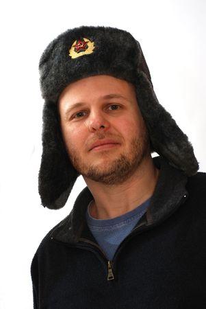 Caucasian man wearing ushanka winter hat with Soviet Union logo photo