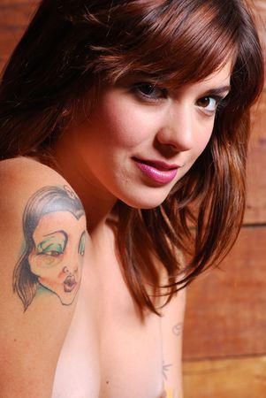 Portrait of nude caucasian woman inside barn Stock Photo - 4868971