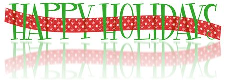 Text illustrations of Happy Holidays with red ribbon Stock fotó