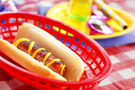 childrens meal: Hot dog in a basket at a barbecue picnic birthday party