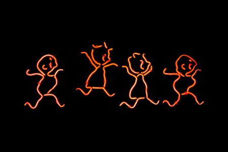 lighting background: Red children playing neon sign isolated on black background