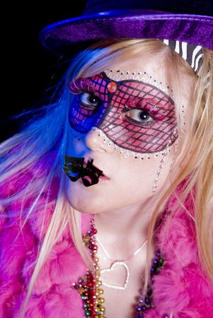 Blonde woman dressed up for Mardi Gras party Stock Photo - 5760559