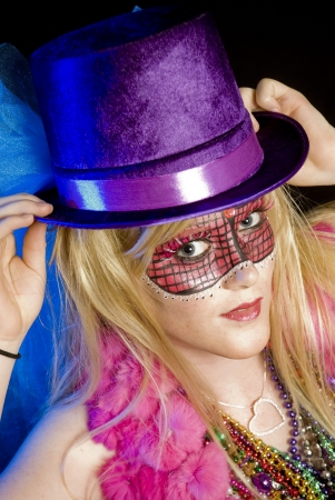 Blonde woman dressed up for Mardi Gras party Stock Photo - 5760377
