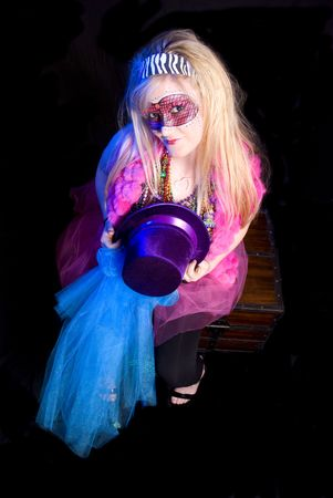 Blonde woman dressed up for Mardi Gras party Stock Photo - 5760620