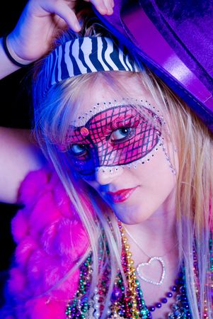 Blonde woman dressed up for Mardi Gras party Stock Photo - 5760602