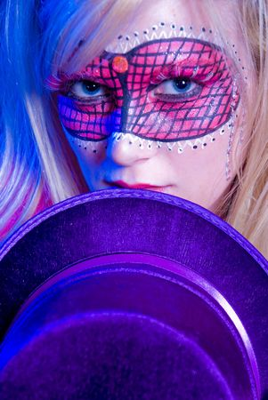 Blonde woman dressed up for Mardi Gras party Stock Photo - 5760375