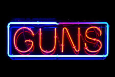 firearm: Guns neon sign isolated on black background