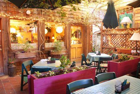 Interior of an outdoor garden restaurant photo