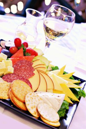 fruit platter: Cheese tray and wine