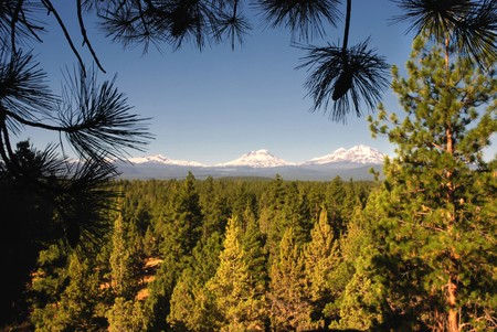 oregon cascades: Three Sisters Mountains in Oregon, United States