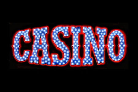 Red white and blue neon casino sign