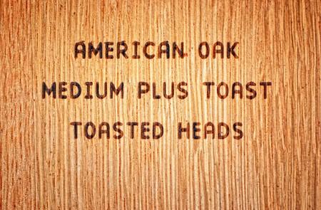 Wood burned stamp on American Oak wine barrel Stock Photo