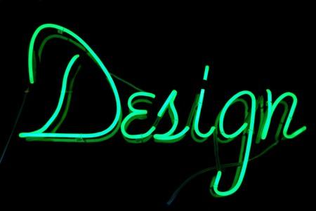 Signo de neón de diseño en color verde aislado sobre fondo negro  Foto de archivo - 7664646
