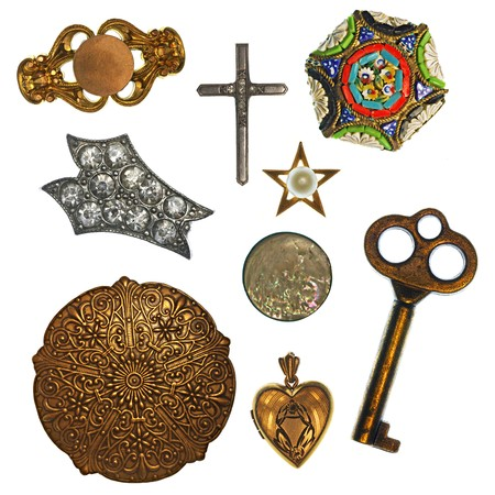 silver cross: Collage of antique jewelry and trinkets for design element Stock Photo
