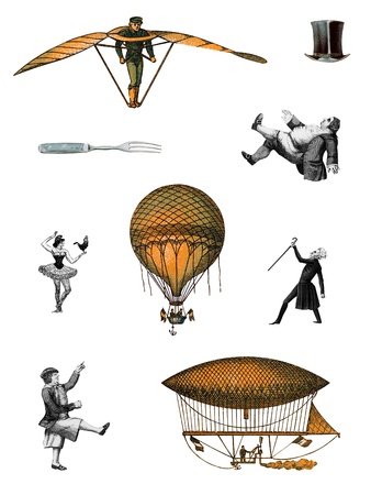 A variety of 19th century steampunk characters and flying machines Standard-Bild