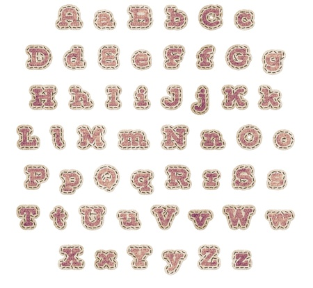 stitching: Upper and lower case alphabet in rose fabric patches with brown stitching and beige outline with clipping path