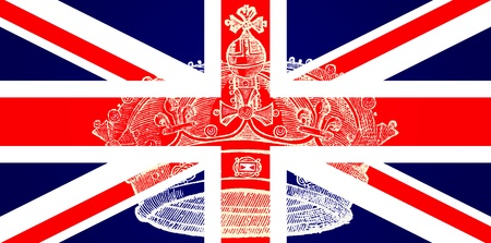 royal family: Illustration of the British Flag with Crown Engraving