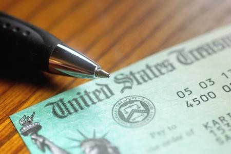 regierung: Papier Scheck von der United States Treasury Lizenzfreie Bilder