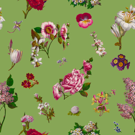 Vintage Victorian Flowers Seamless Background on Green.  Source: Harrisons Perfumery Advertisement, c. 1854,  US Library of Congress